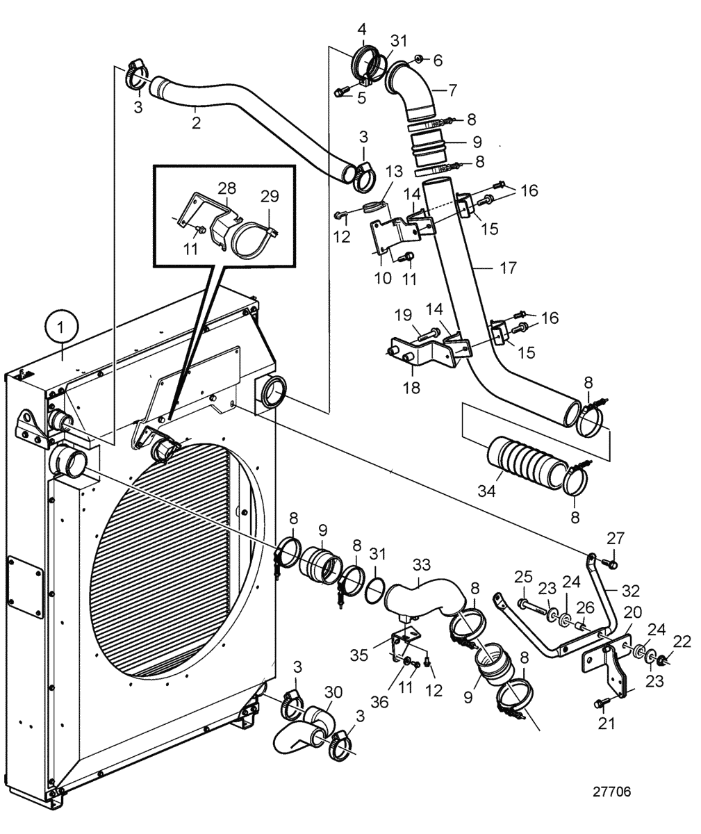 Radiator and Charge Air Cooler with Connections, Pushing, SN2016084274-SN2016087576