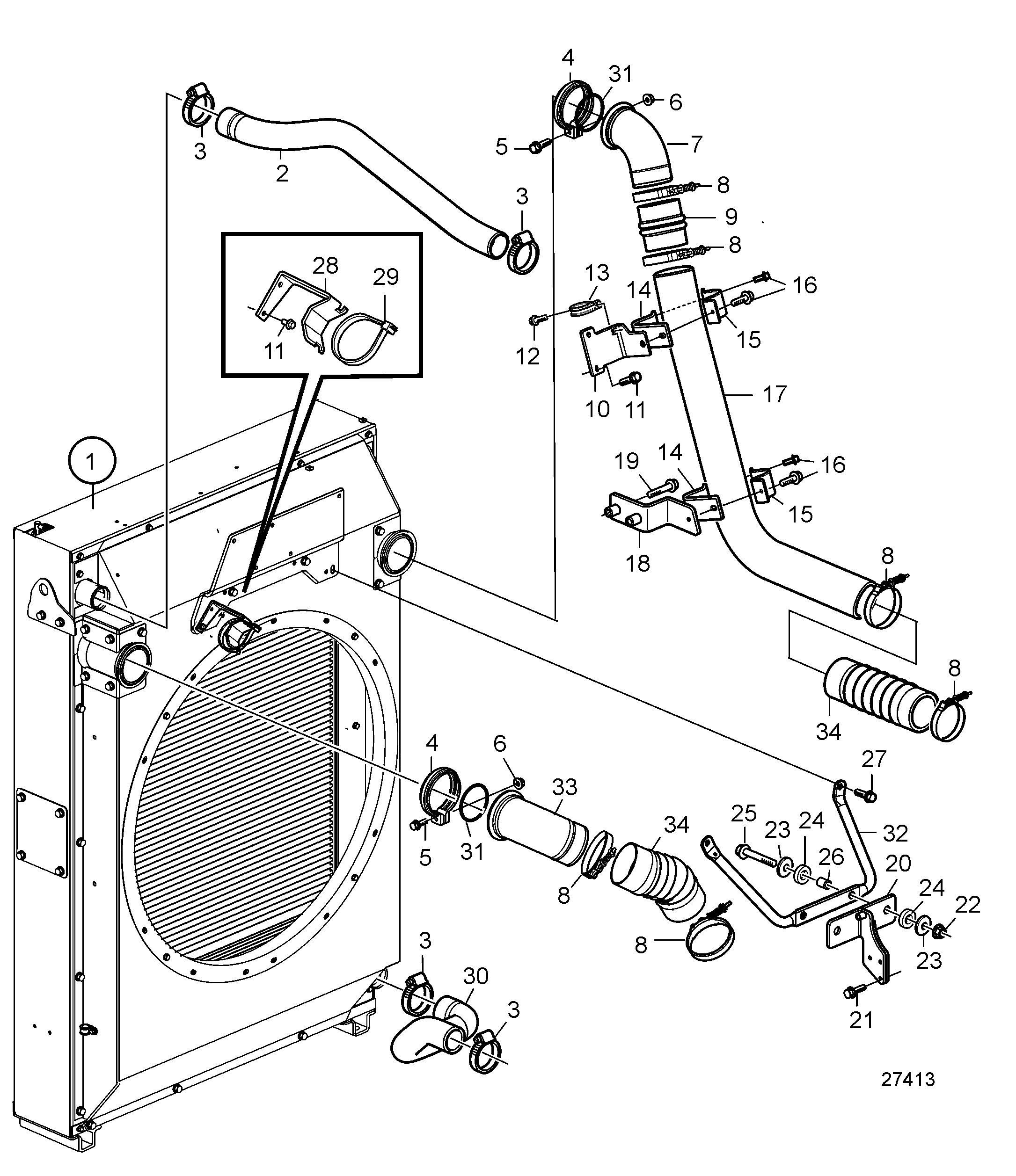 Radiator and Charge Air Cooler with Connections, Pushing, SN2016079648-SN2016084273