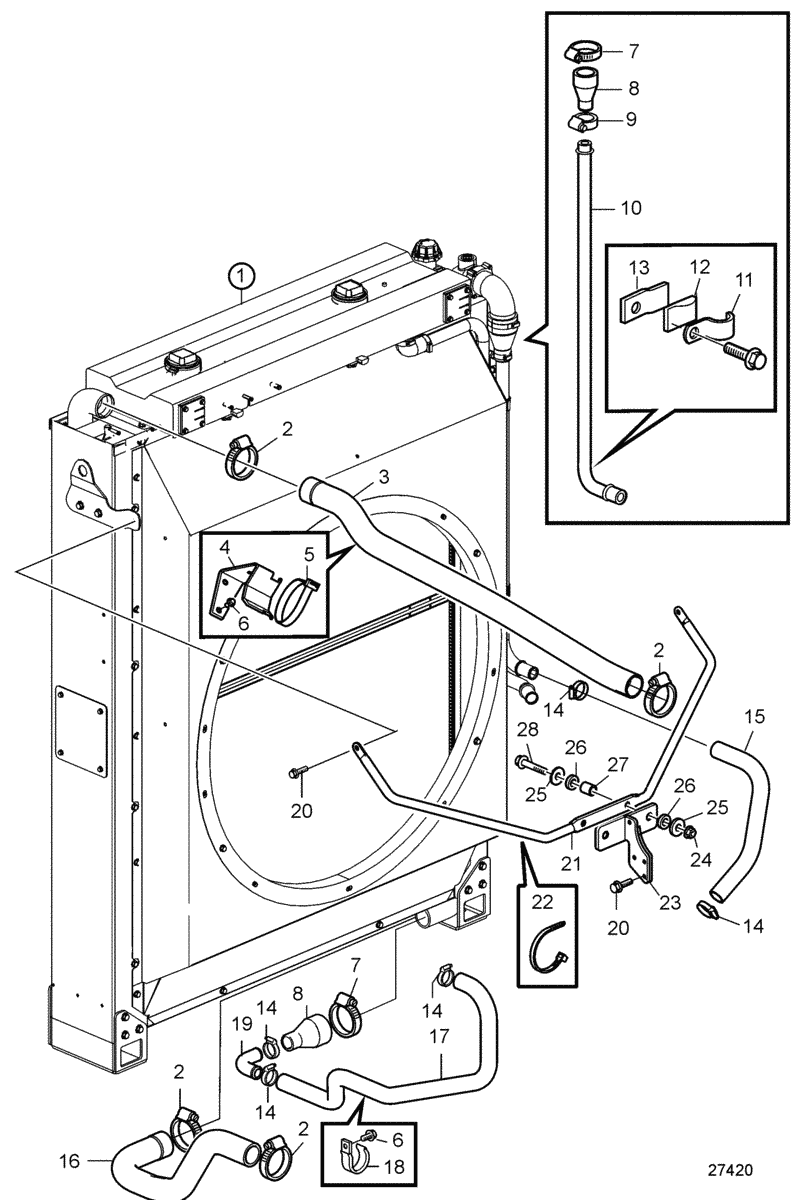 Radiator and Charge Air Cooler with Connections. SN2016080036-SN2016087576