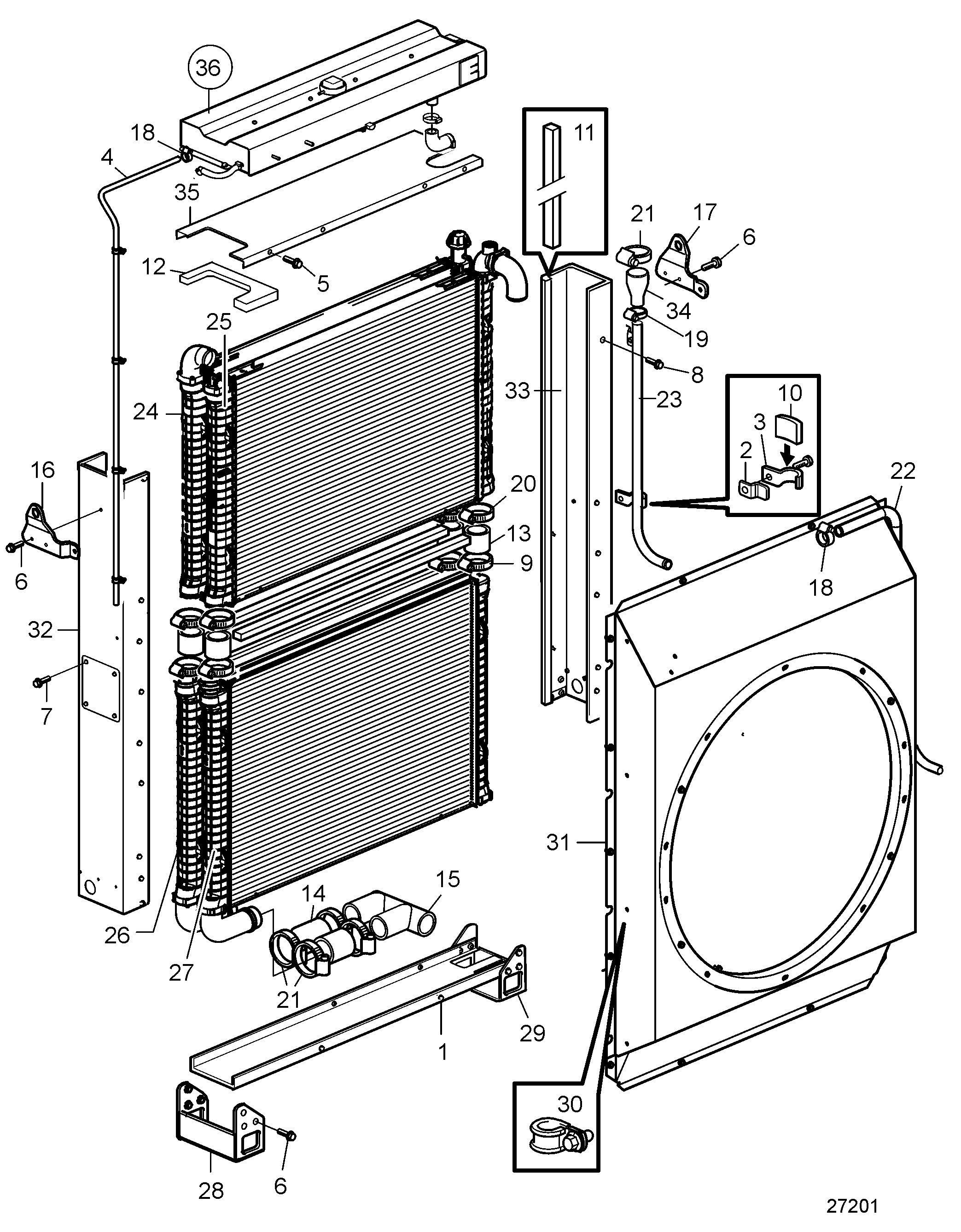 Radiator with Connection Components. Pusher Fan SN2016076785-SN2016080035
