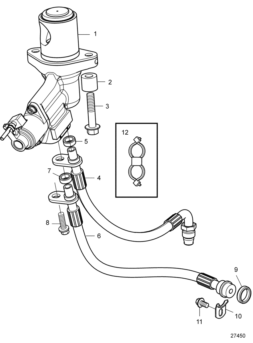 EGR-valve with connecting parts
