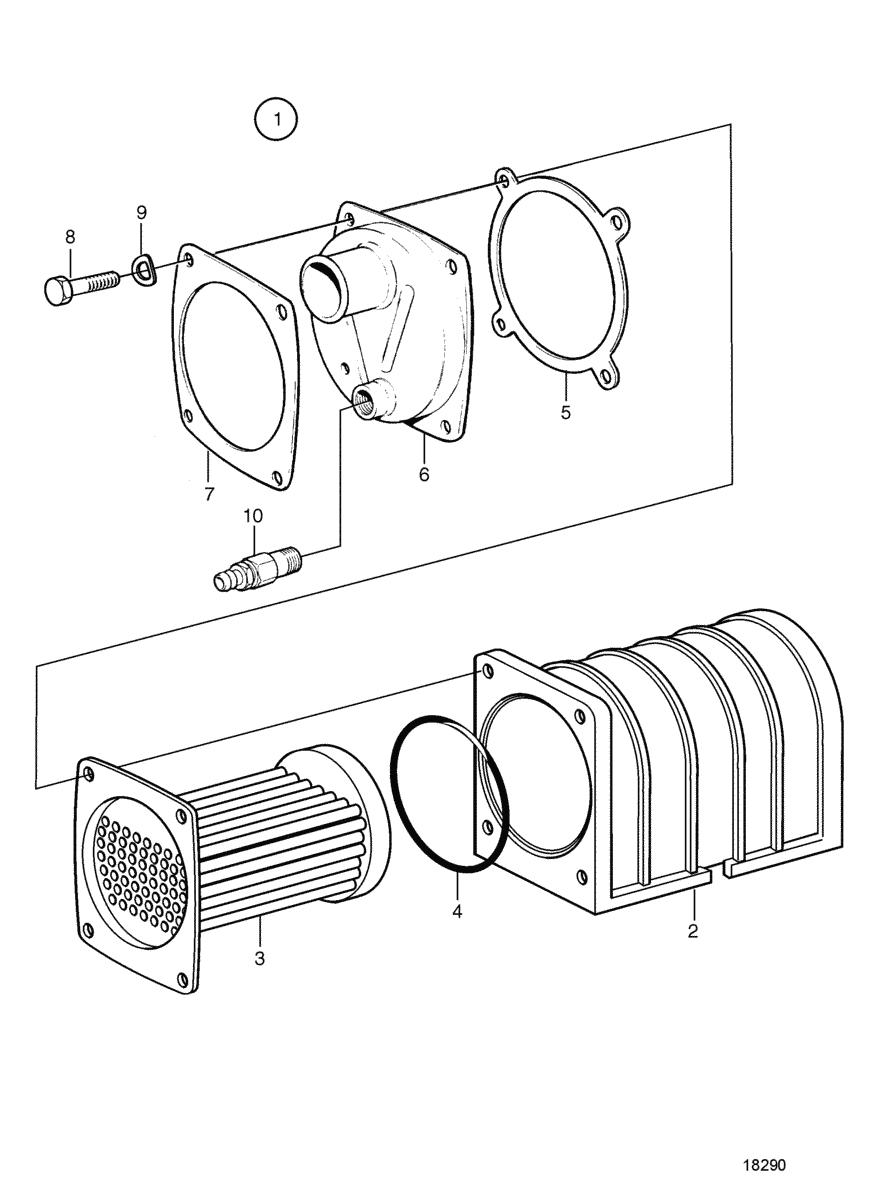 moteurs volvo penta syst me de refroidissement refroidisseur d 39 huile pi ces. Black Bedroom Furniture Sets. Home Design Ideas