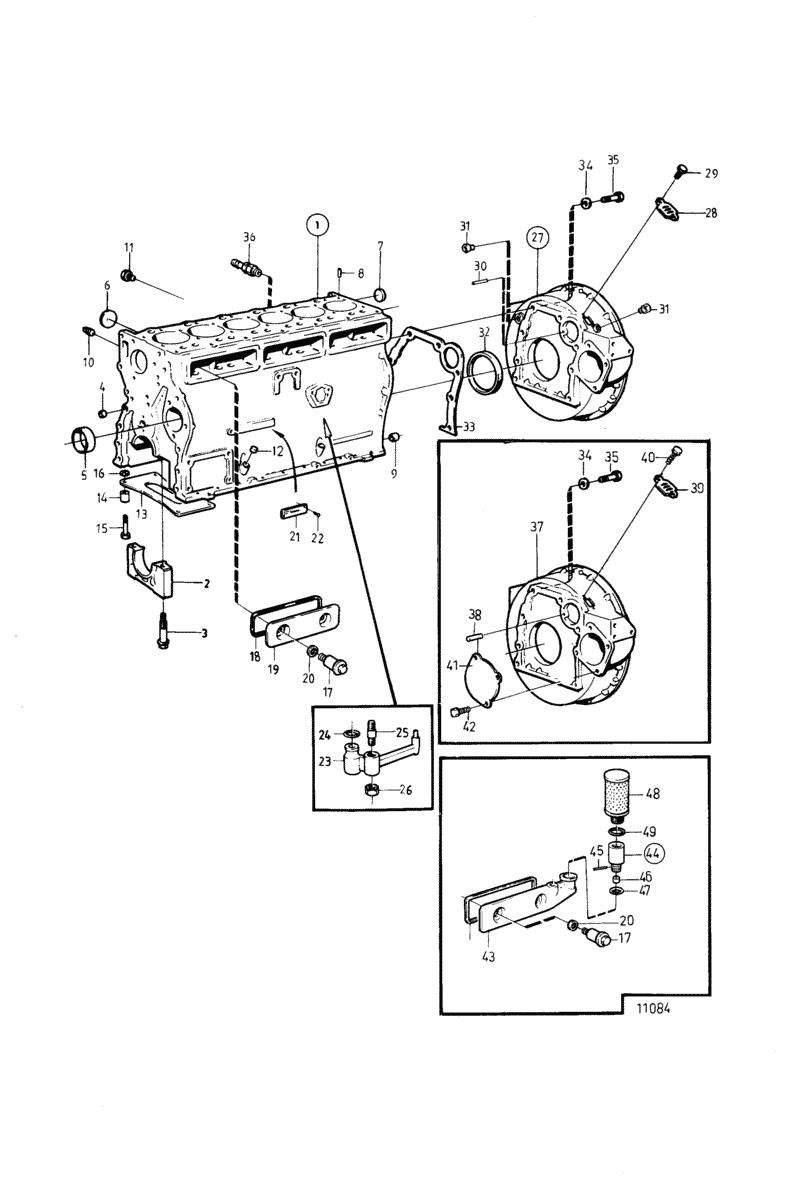 moteurs volvo penta moteur bloc cylindres et carter de volant moteur d. Black Bedroom Furniture Sets. Home Design Ideas