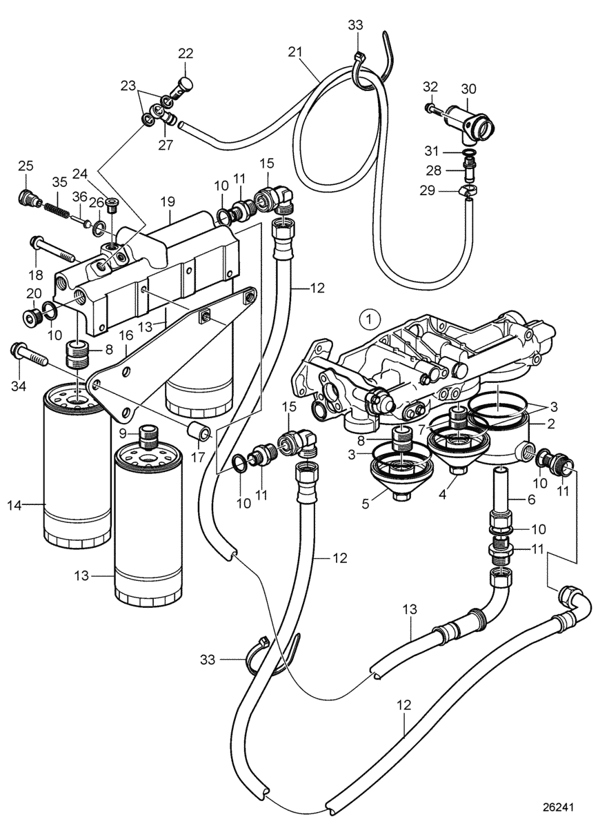 Oil Filter Housing and Oil filter, Alternative Mounting, Plastic Oil Sump