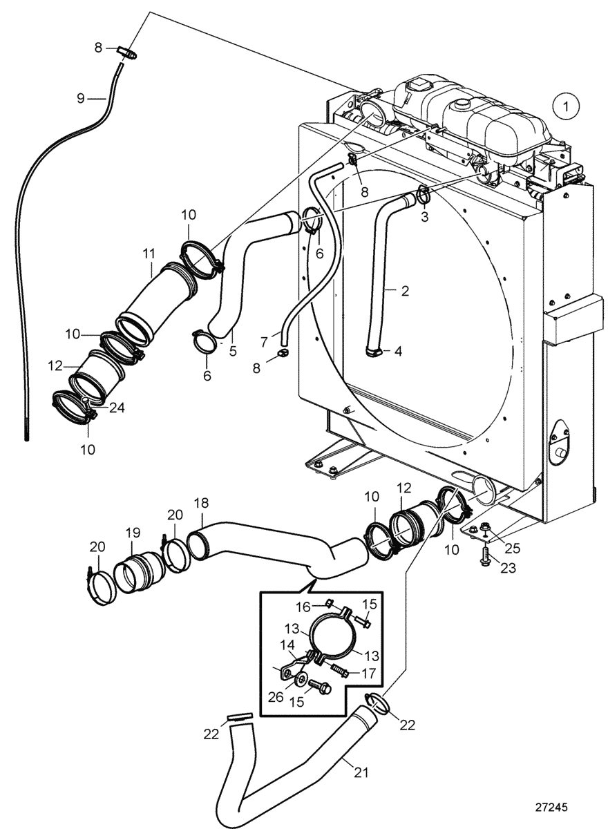 Radiator with Connection Components. Visco Fan Suction